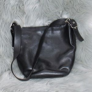 Coach Vintage Black Leather Bucket Shoulder Bag